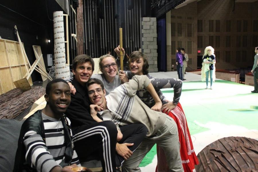 Travis Boyd, Alexander Gallo, Kevin Rahtjen, Hannah Nelson, and Alison Groppi goof off at rehearsal.