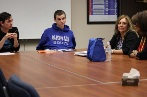 Pihos talks with Principal Coughlin and Editors-in-Chief Alex Crouch and Jordan Hulseberg