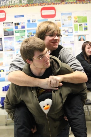 Timothy O'Connor and Gabriel Pocevich enjoy activities at a GSA meeting.