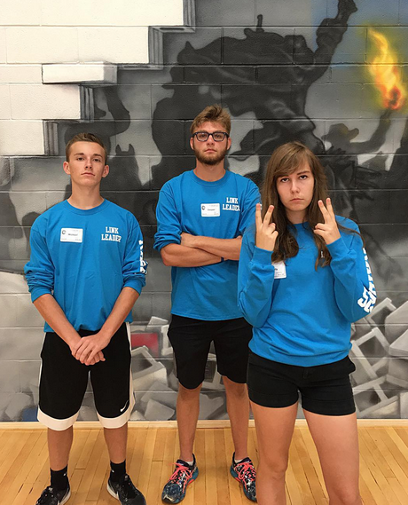Student council executive officers Michael Zima (left), Cooper Reif (middle), and Emily Gasparro (right).